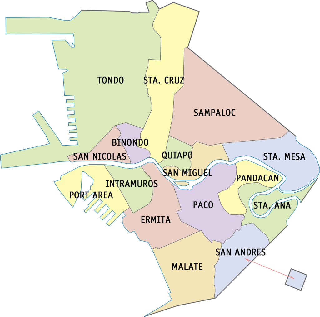 District Map of Manila that shows its 16 districts. (Wikipedia)