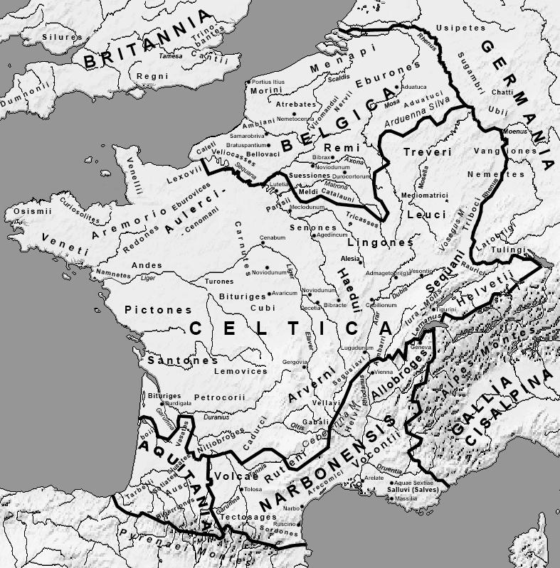 Roman Gaul c. 58 B.C. -- from http://en.wikipedia.org/wiki/Transalpine_Gaul