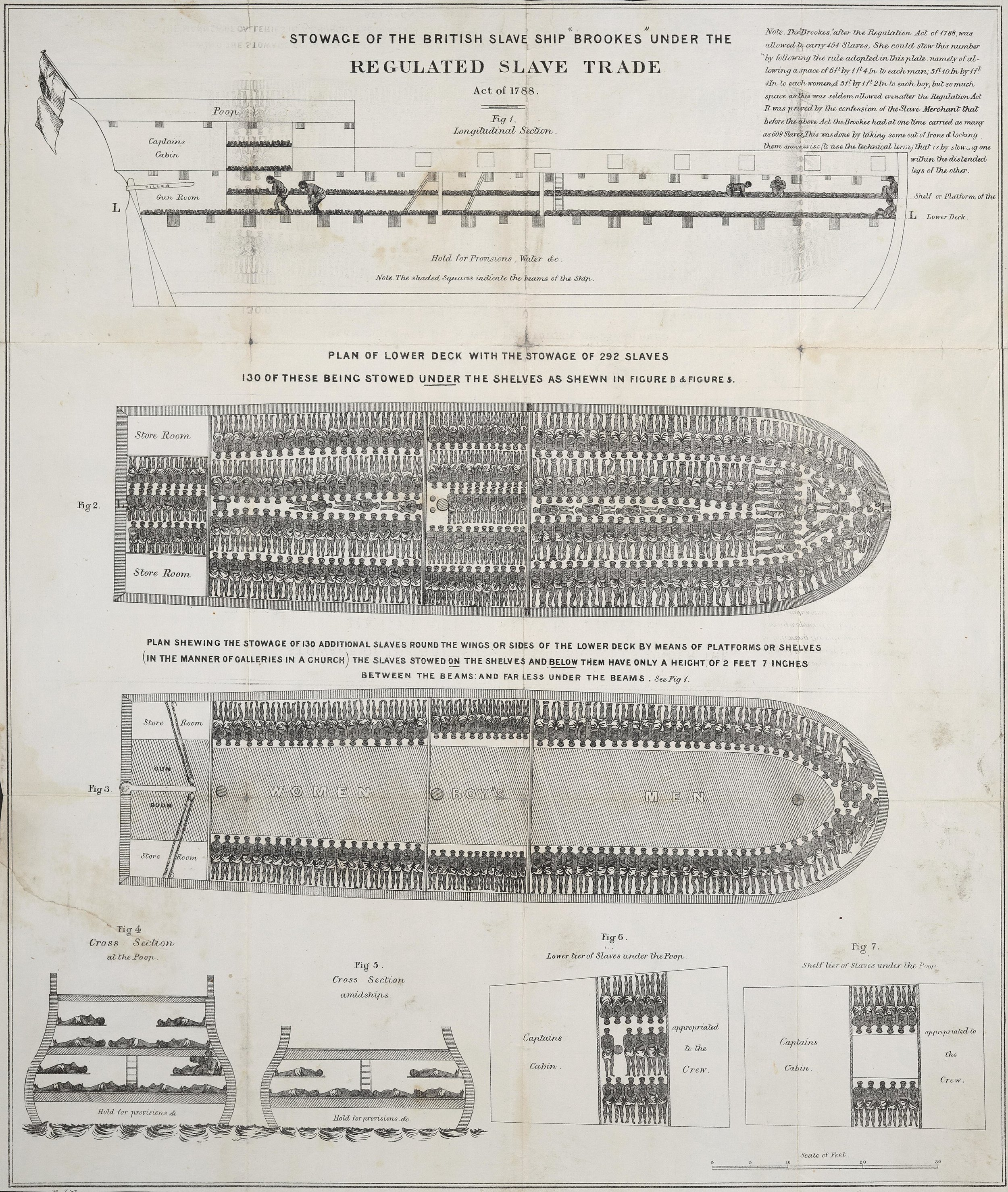 """A plan of the slave ship  Brookes , showing how 454 slaves were accommodated on board. This same ship had reportedly carried as many as 609 people. Published by the Society for Effecting the Abolition of the Slave Trade."""