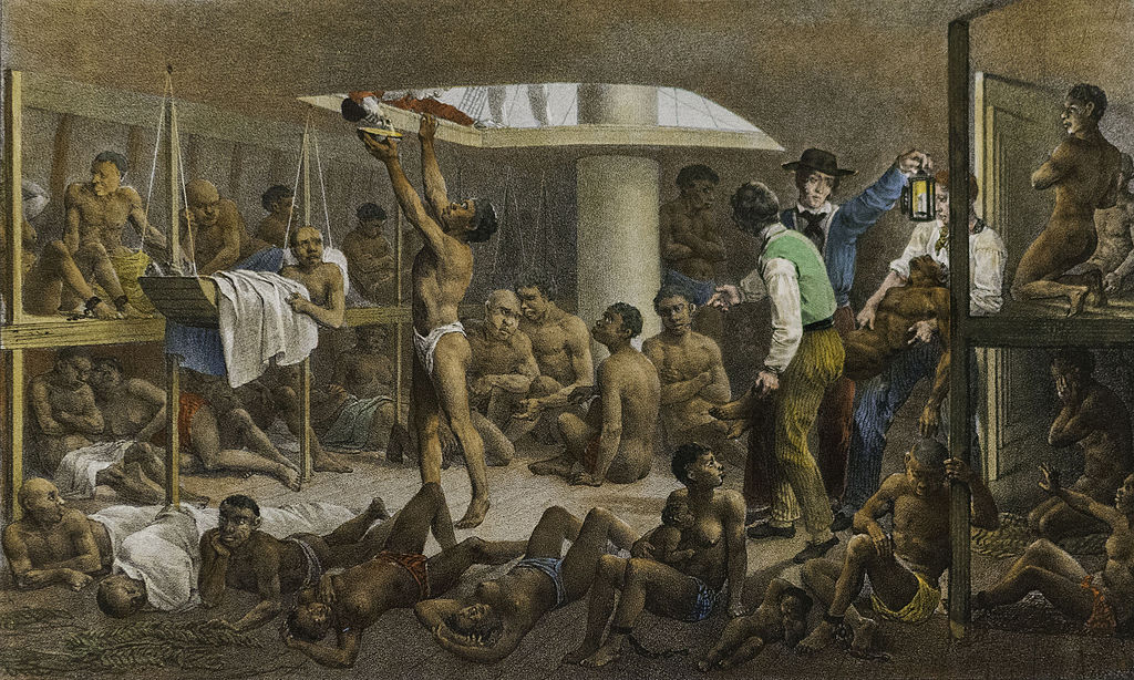 """A painting c.1830 by the German artist Johann Moritz Rugendas depicts a scene below deck of a slave ship headed to Brazil. Rugendas had been an eyewitness to the scene."""