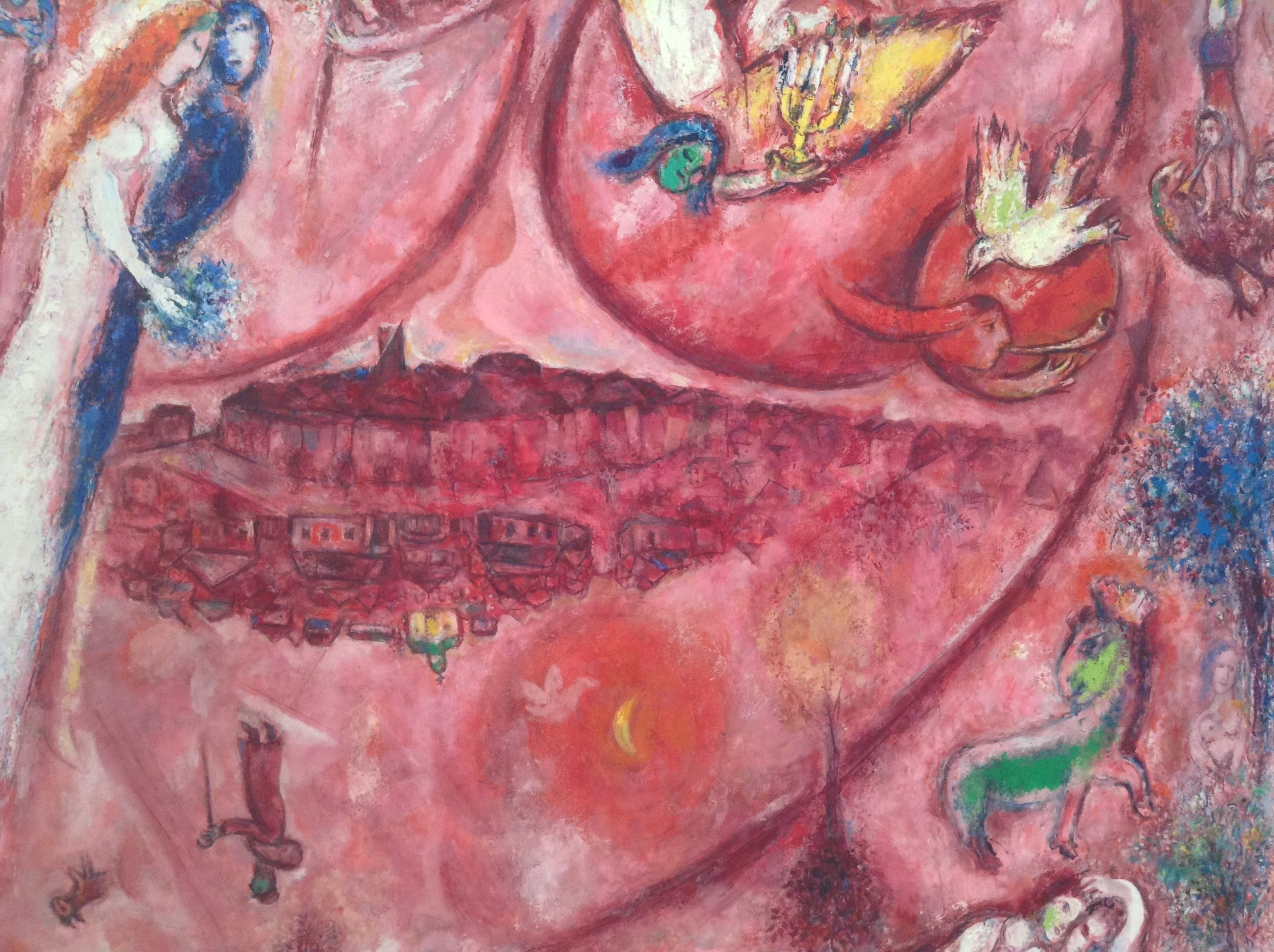 """Mon amant est pour moi un sachet de myrrhe, il nuite entre mes seins"" (""My lover is for me a sachet of myrrh; he stays the night between my breasts"") by Marc Chagall, in Nice's Musée Marc Chagall. Photo (slightly cropped) by RYC."