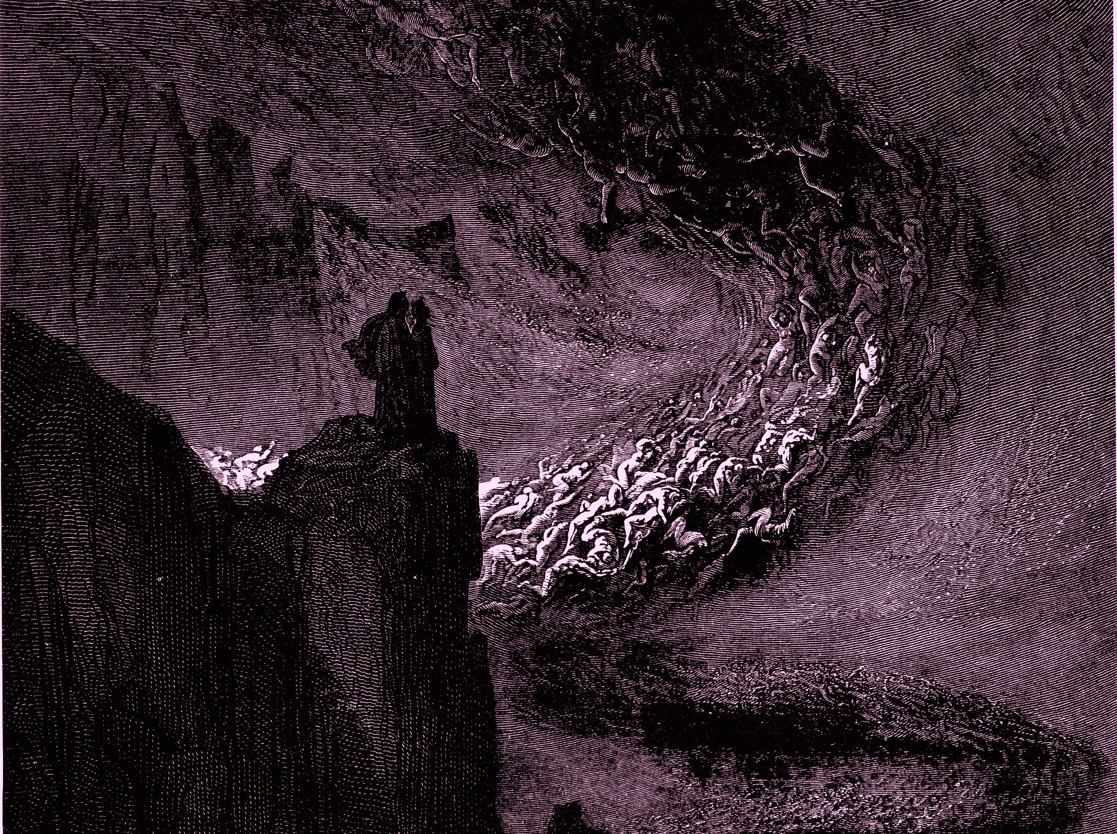 "Gustave Doré's illustration to Dante's  Inferno , 1857. Plate XIV: Canto V: ""The infernal hurricane that never rests / Hurtles the spirits onwards in its rapine"" (Wikimedia Commons)"