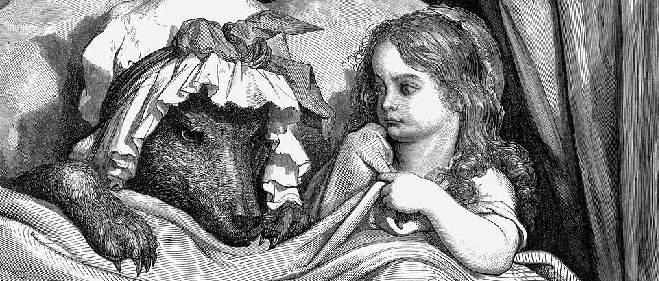 """""""Gustave Dore - She was astonished to see how her grandmother looked"""" (Wikipedia Commons)"""