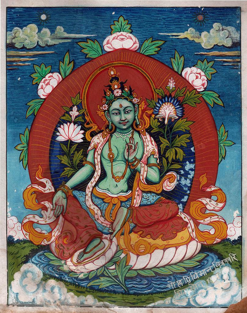 Painting of Buddhist goddess Green Tara by Prithvi Man Chitrakari done in 1947 (Wikimedia Commons)