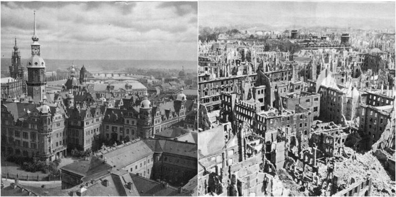 Dresden, Germany, before and after the Allied bombing of this city which had no military target and was an asylum for war refugees (from https://www.thevintagenews.com/2016/04/09/pictures-of-dresden-before-and-after-the-wwii-bombing-3/). The Allies bombed from Feb 13-15, 1945 -- more or less on Valentine's Day...