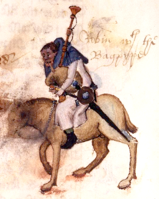 """""""Miniature illustration of Robin, the Miller, with a 16th century note 'Robin with the Bagpype' from folio 34v of the Ellesmere Manuscript of Chaucer's  Canterbury Tales . 15th century artist. Photographic facsimile by the Henry E. Huntington Library and Art Gallery"""" (Wikimedia Commons,  source here )"""
