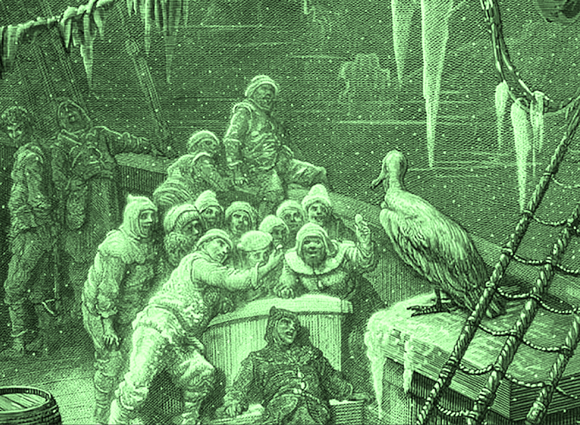 """""""Engraving by Gustave Doré for an 1876 edition of the Rime of the Ancient Mariner by Samuel Coleridge. Labeled 'The Albatross,' it depicts 17 sailors on the deck of a wooden ship facing an albatross. Icicles hang from the rigging"""" (Wikimedia Commons; coloured by RYC)"""