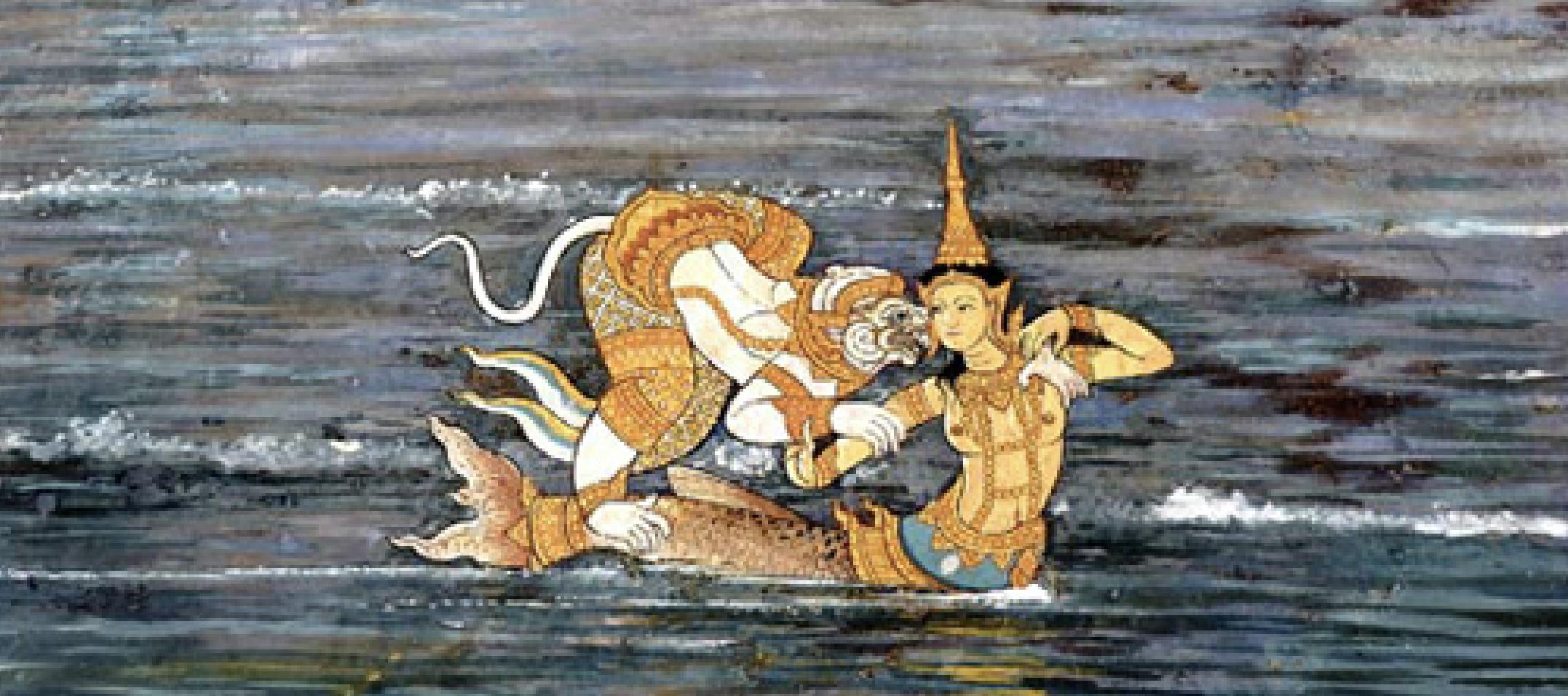 Hanuman and Mermaid Suvannamaccha. Photocopy of a mural painting in Wat Phra Kaew, Bangkok (Wikimedia Commons)
