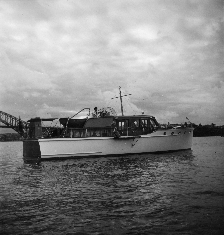 Sea trials - Sydney Harbour April 1950. Skippered by Carl Halvorsen