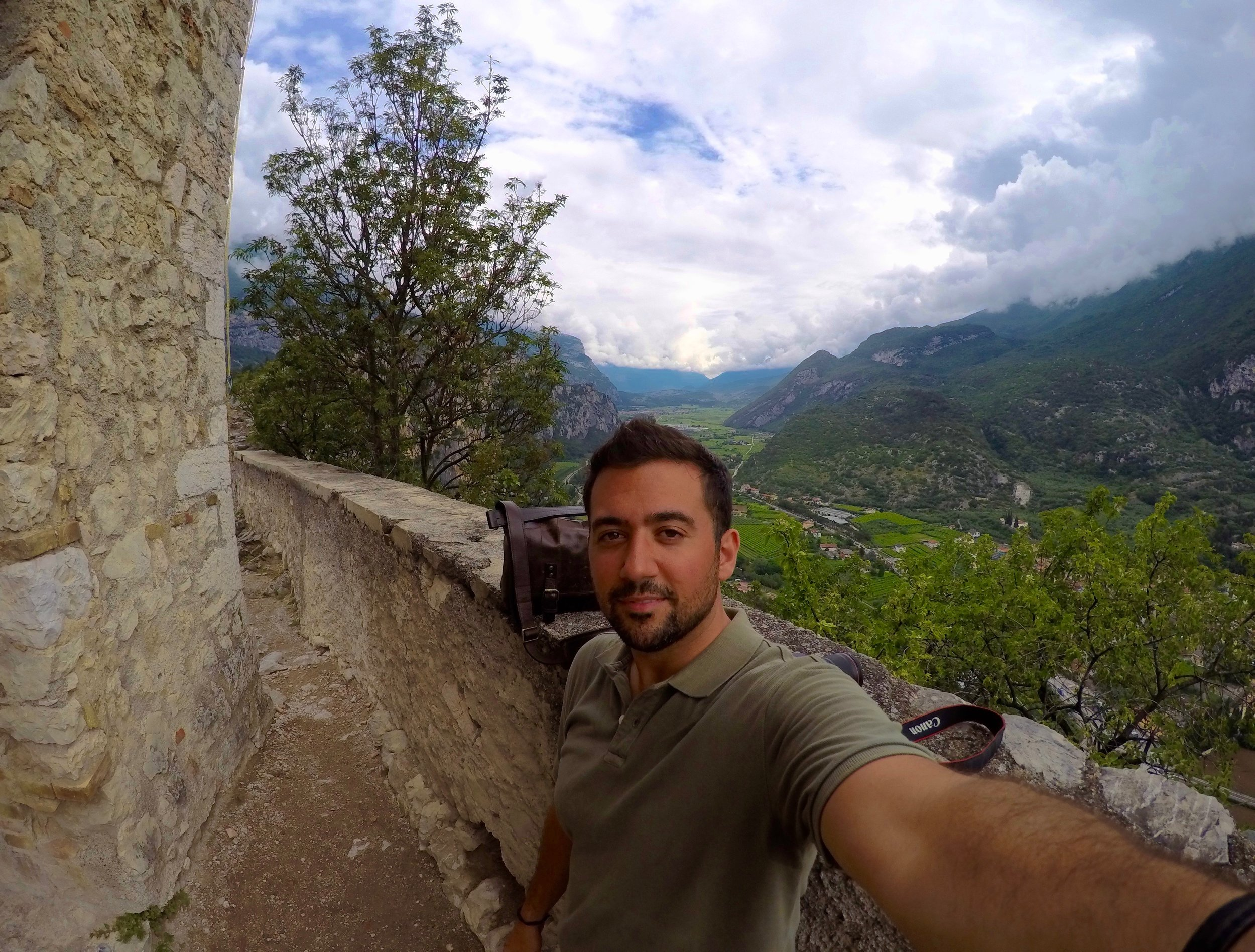 Standing beside the keep, high above the Sarco Valley - Castello Arco, Trento Italy