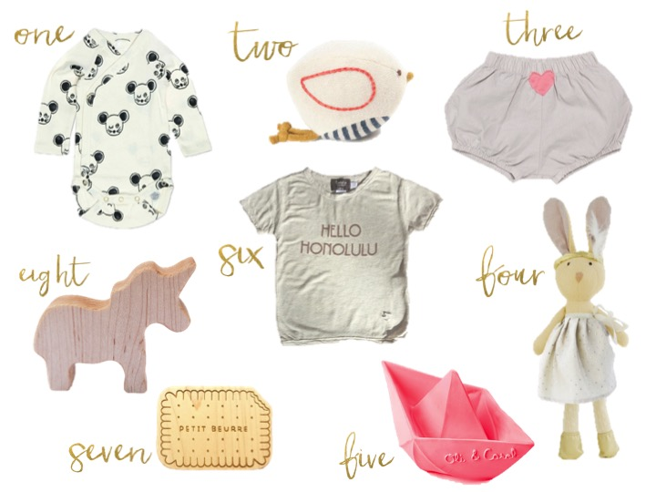 go green, mini rodini mouse all over print, hazel village white bird rattle, heart of gold shorts pumice, T-shirt Short Sleeves Print hello Honolulu, lexypexy french butter biscuit teether, manzanita kids unicorn rattle