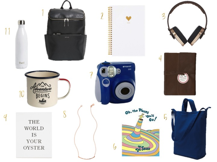 Graduation Gifts, sugar paper planners, matt net leather backpack,  oh the places you go, dr seuss, polaroid camera,