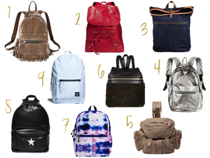 khoi corp suede fringe backpack,  khoi corp metallic backpack, balenciaga classic traveller textured leather backpack, denim smith state backpack, the kane state backpack, alexander wang marti mini leather backpack, givenchy medium backpack black and white leather, kara small textured leather and shearling backpack, settlement white backpack