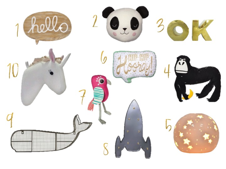 Target Finds - Target, Oh Joy OK Vase, Hello Wall Plaque,  Panda Throw Pillow, Unicorn Wall Decor, Tucan Throw Pillow, Rocket Ship Wall Light, Gorilla Throw Pillow, Starry Night Light, Hip Hip Hooray Throw Pillow