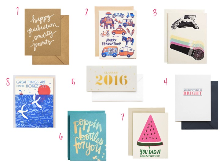 GRADUATION CARDS - sugar paper, paper source, hello lucky