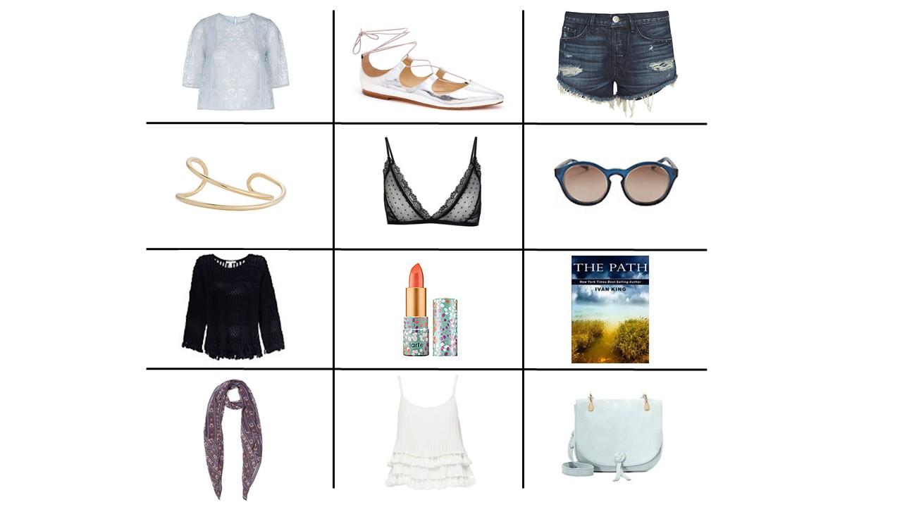 lace metallic denim sunglasses summer reads lip gloss cross body scarf