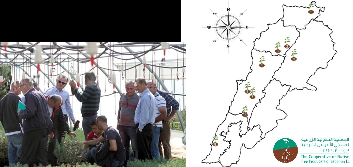 Figure 1 – Distribution of CNTPL Native Nurseries throughout Lebanon