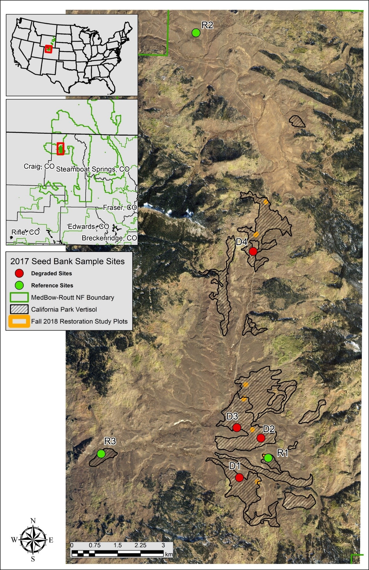 Map of California Park, Colorado, and location of sample sites and study plots.