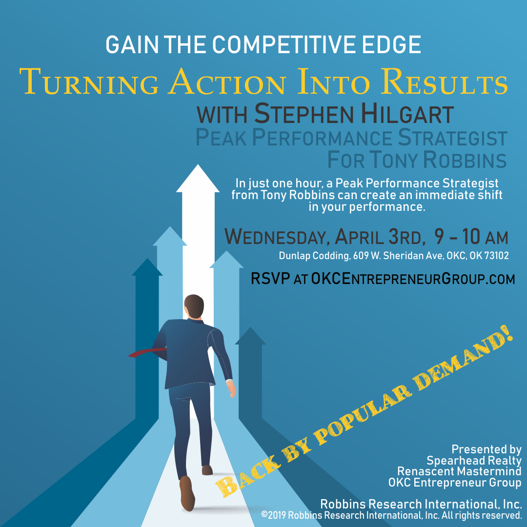 "Copy of ""Turning Action into Results"" Workshop with Stephen Hilgart, Tony Robbins Top Business Strategist"
