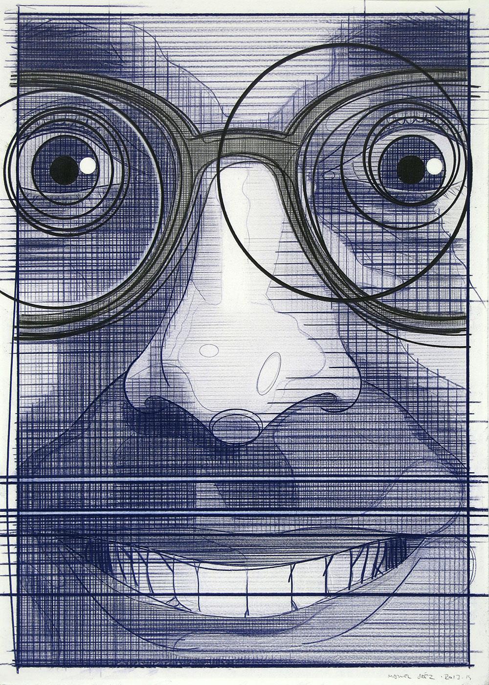 El turista del espacio 6, 2013-2014. Lápiz de color / papel. 70 x 50 cm