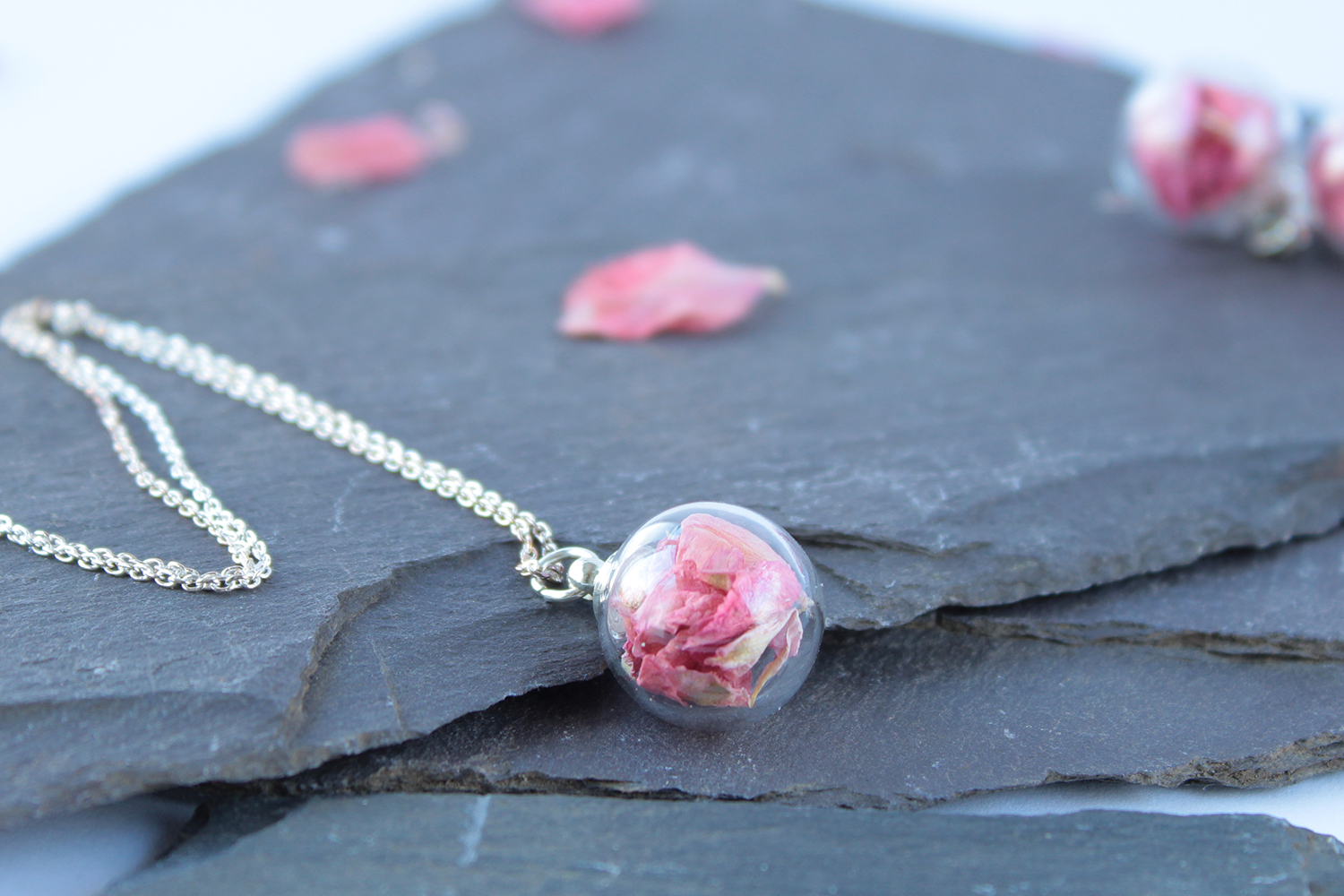 Dark Pink Necklace - Mini glass sphere filled with British grown Delphinium and Larkspur petals.
