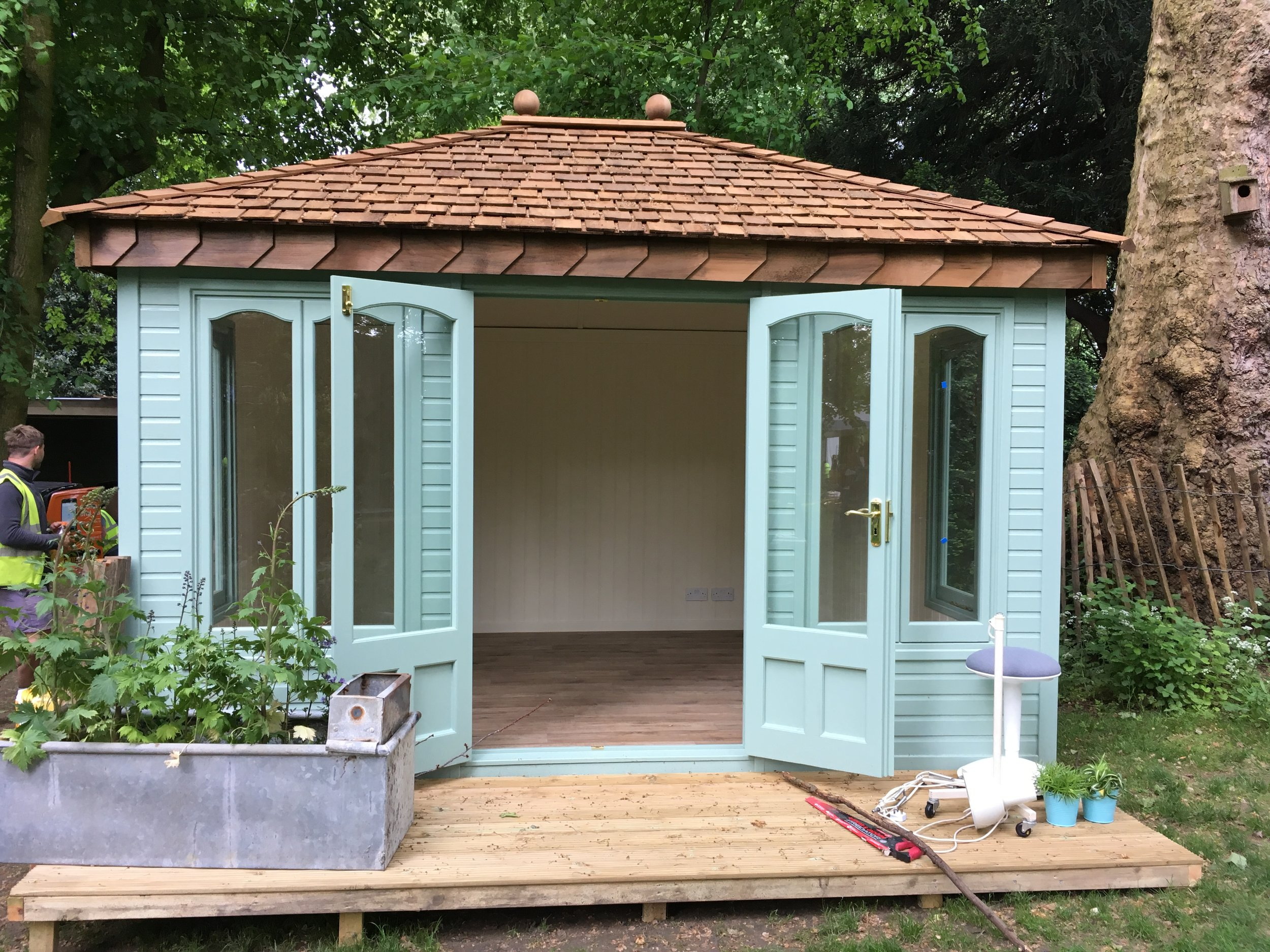 This is the building from Malvern Garden Buildings, these are our sponsors, I got to choose the colour inside and out, the flooring and got a deck added too. Such an honour to be part of the show and given this opportunity.