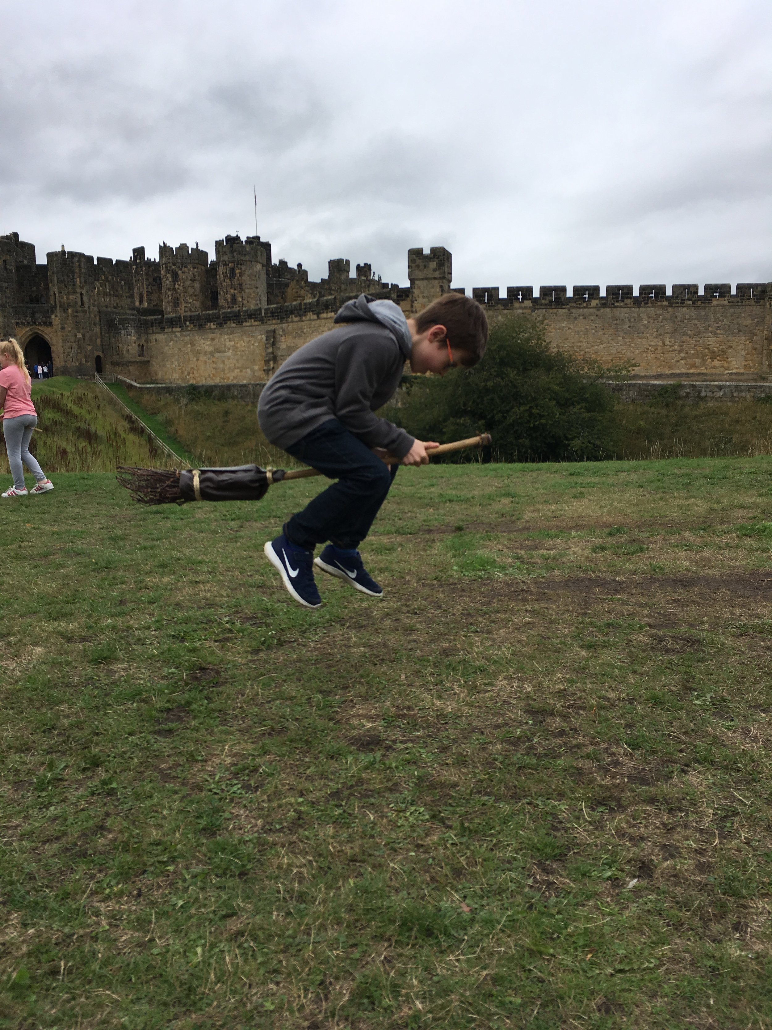 Alnwick Castle is the home to the Harry Potter location for the broomstick lessons and we so happened to get a chance to fly a broom too!