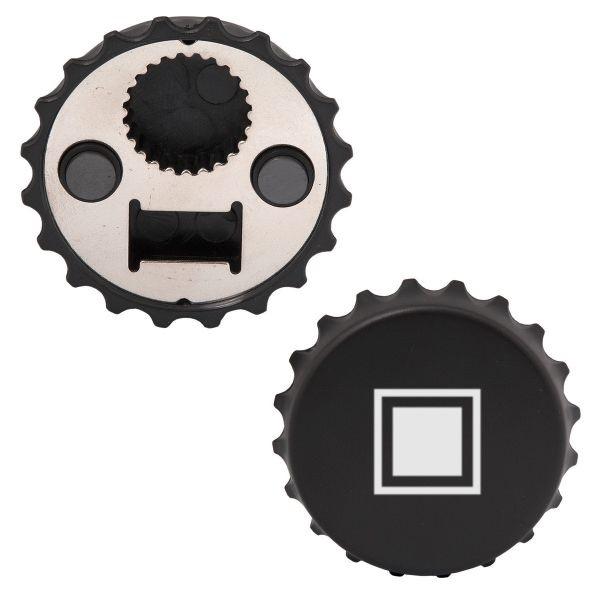 WK8668 Bottl cap opener in the shape of cap. Black with white square logo.jpg