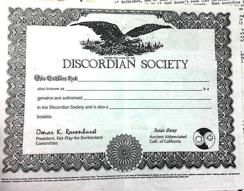 Ordination document
