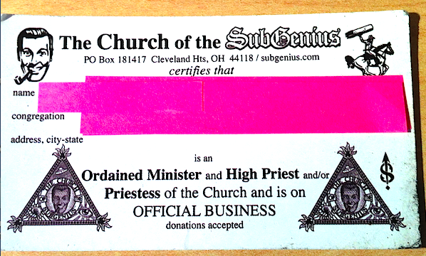 The Church of the SubGenius Minister Card