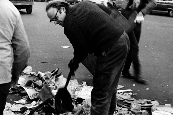 "Fig. 2: Host of  Radio Unnameable , Bob Fass, participating in the ""Sweep-in"" that cleaned -up the mountain of garbage that accumulated along 7th Street in Manhattan. The Diggers conceived of the idea and Fass used his show to orchestrate its execution on April 8, 1967. His show was also integral in organizing the Fly-in (Feb. 1967) , Central Park Be-in (April 1967), and Yip-in (March 68)."