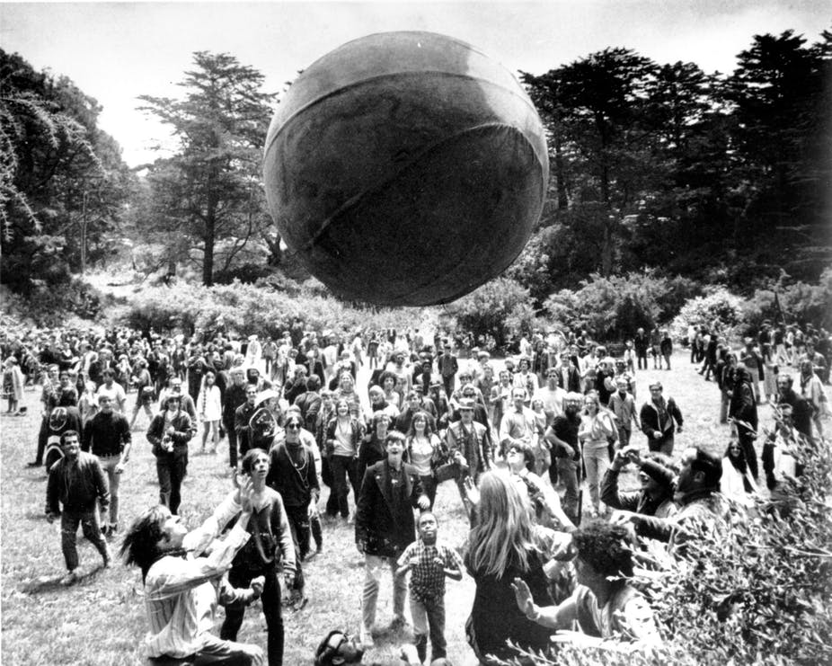 "Fig. 3: The Central-Park be-in of 1967 was the first of many ""tribal gatherings"" in which the psychedelic spirit of universal brotherhood was celebrated out in the open by 10,000s of people."