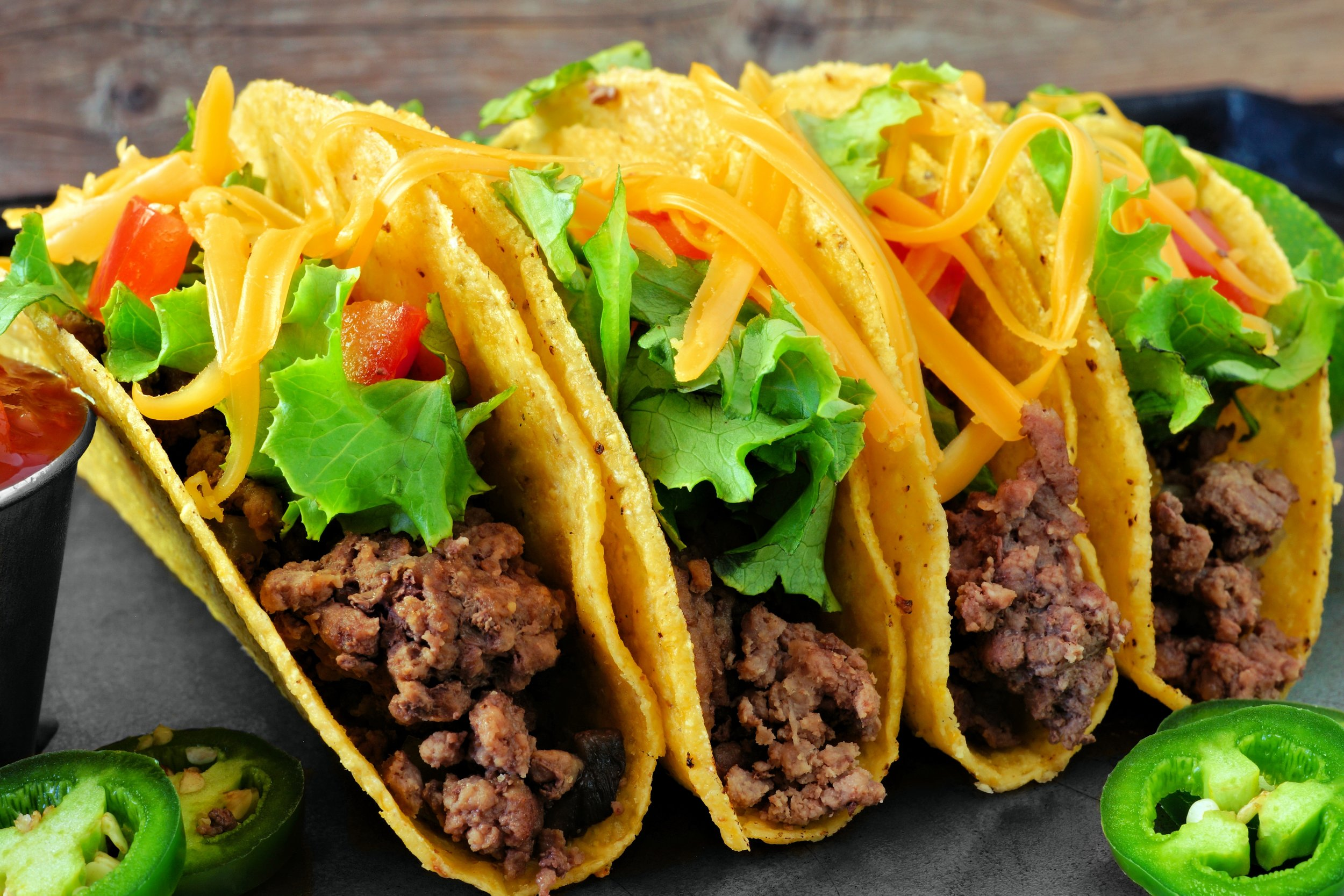 Mexican - Corn tortillas or taco shells with meat (no onion or garlic), tomato, lettuce, and shredded cheese (limit amount)Rice and/or tortilla chips on side