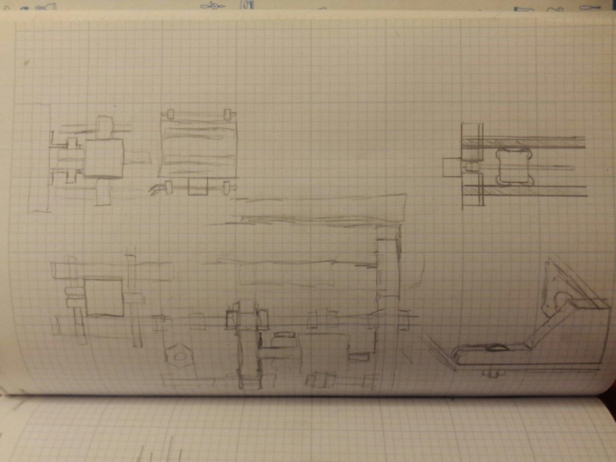 Designs sketched in maker notebook