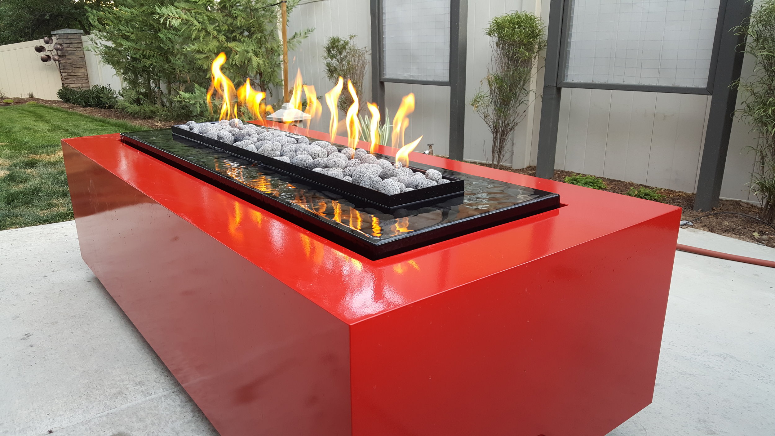 Fire table and water feature combo.