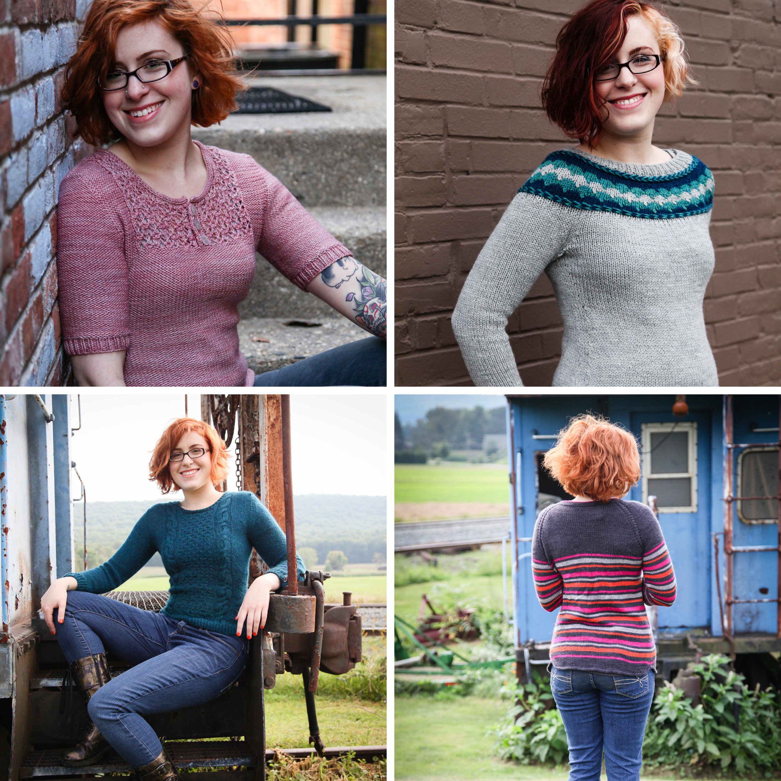 Clockwise from top left: Praline Pullover, Dreamer's Braided Pullover, Stripe Quartet, Cables 'n Cats