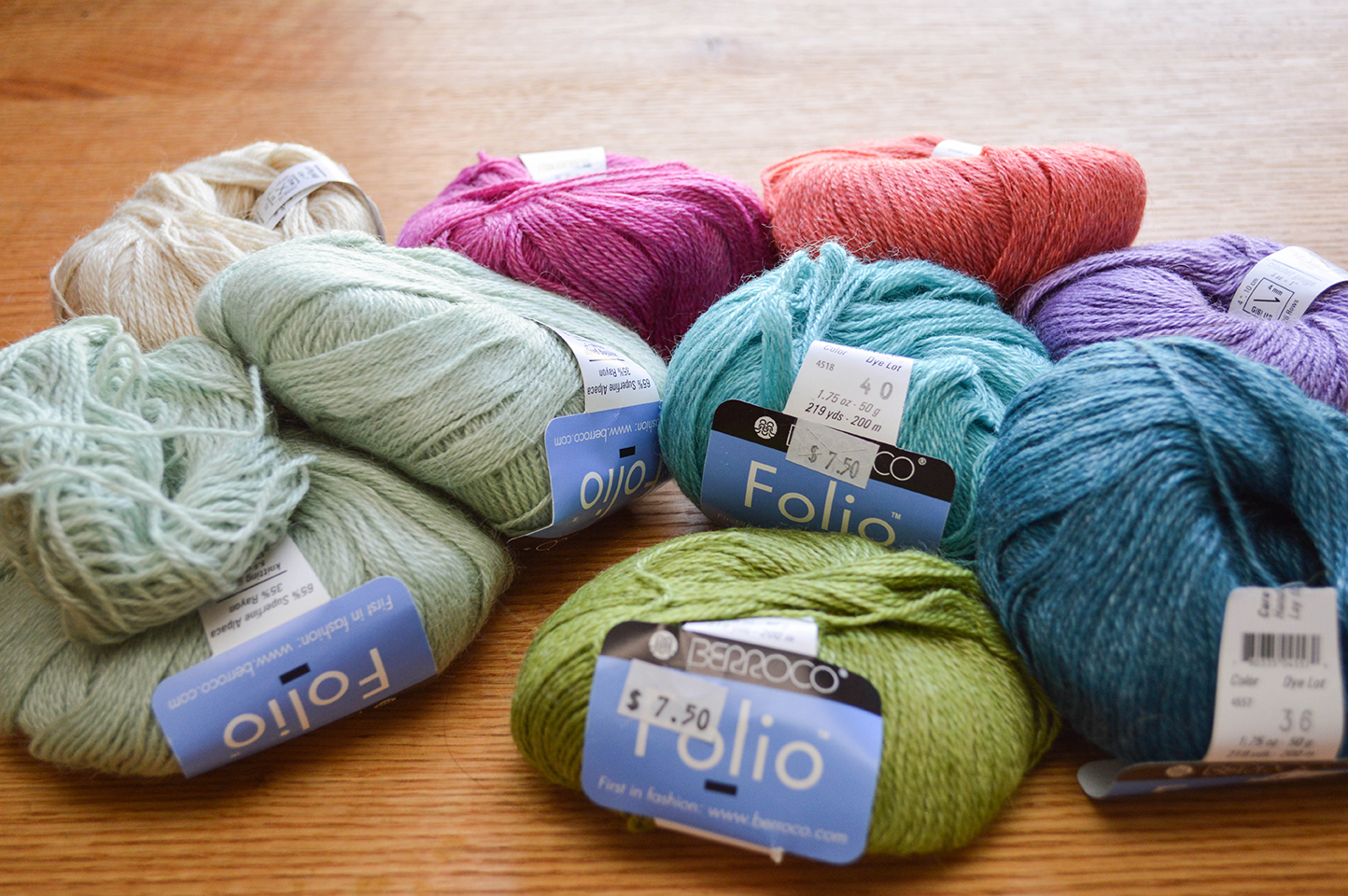Berroco Folio lot, mixed colors