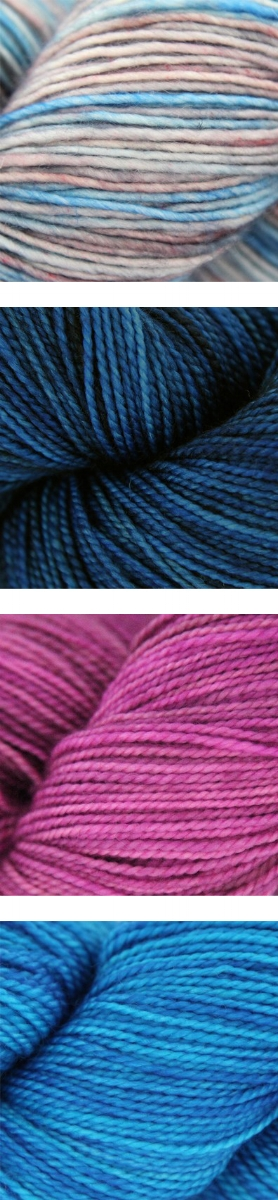 Top to bottom: Madelinetosh Tosh Merino Light in Cloud Dweller; Madelinetosh Tosh Sock in Arctic, Prairie Fire & Blue Nile