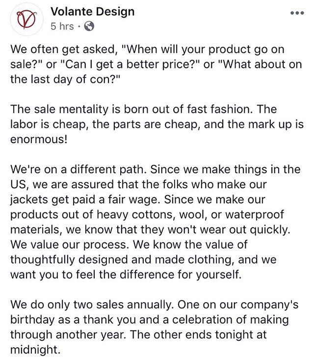 overflowing with gratitude that I now work for a company who gets it. check out @volantedesign if you're interested in nerdy inspired, functional, wearable jackets! . . . #slowfashion #slowfashionoctober #slowfashionstyle #slowfashionmovement #makeyourownclothes #handmade #handsewnwithlove #indiefashiondesigner #sewistsofinstagram #sewistsofig #thetruecost #saynotofastfashion #fashiondesign #handmadeintheusa #americanmadefashion #craftsposure #stitchandhustle #creativelifehappylife #calledtobecreative #instacraft #handmadewithlove #handmadewardrobe #handmadelife