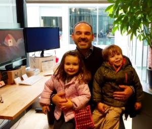 Brett's twins Ella and Ethan visit Dad on a recent trip to Santa Monica over winter break (December 2015).