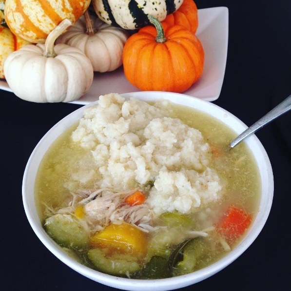 CHICKEN VEGETABLE SOUP W/ MASHED CAULIFLOWER