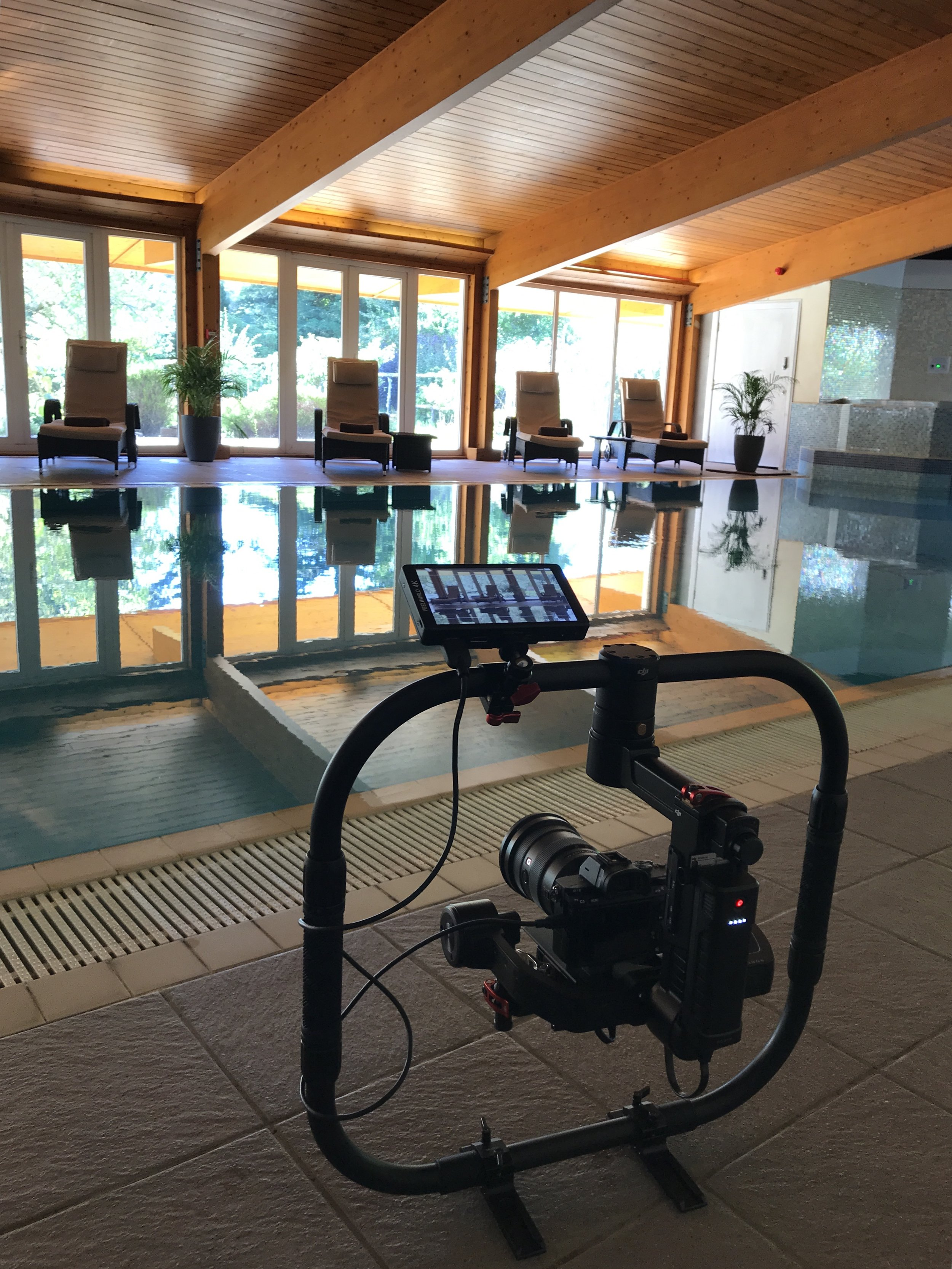 Filming in Eriska's beautiful spa building.