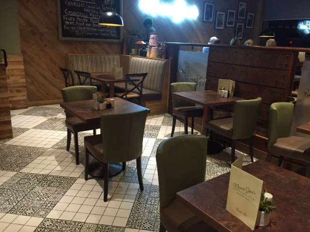 Contract chairs and tables in the restaurant of Nonna Ginas in Scotland