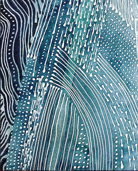 fascially-reminiscent watercolor detail in a large-scale work by the talented @lefoxstudio
