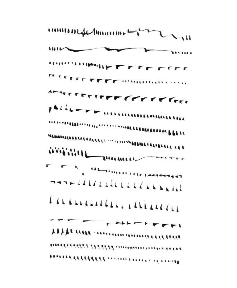 Argentine artist Mirtha Dermisache's  artwork inspired by a graphically-based   language. Sin título (Texto), no date, c. 1970's, ink on paper.