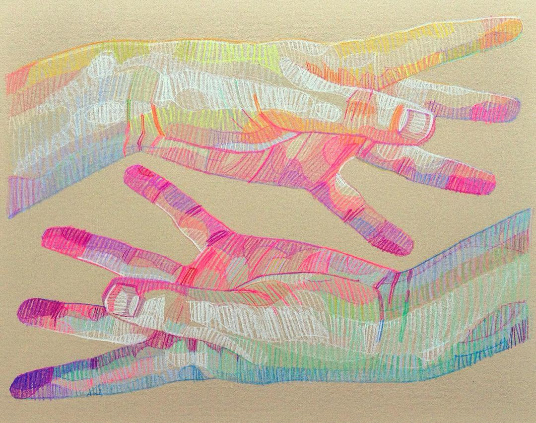 Beautiful prismatic sketch of hands @LuiFerreyra