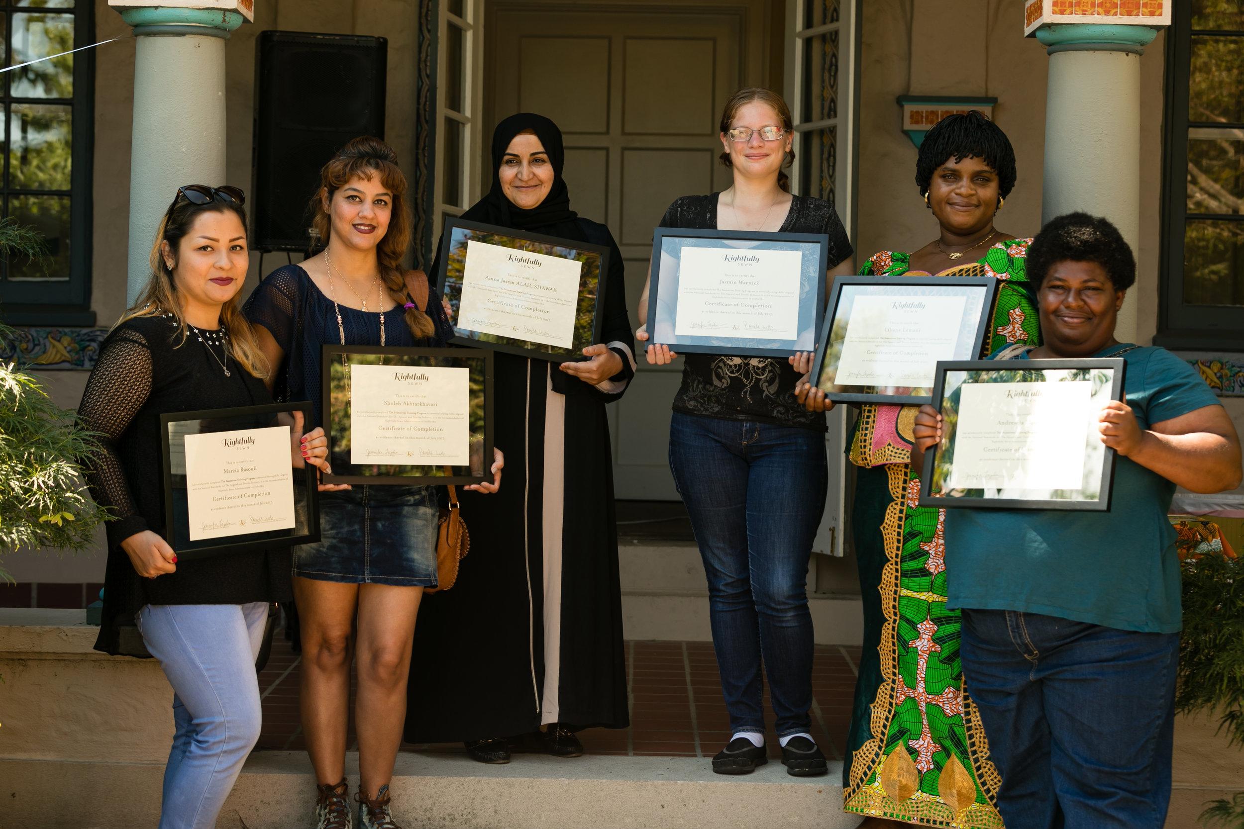 Left to right: Marzia, Sholeh, Amna, Jasmin, Liliane, and Andrescia (Photo by Jeff Evrard)
