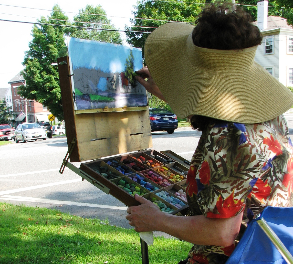 pastel artist anne heywood paints in wiscasset.  Banner Painting at top of page: Village Scene by Audrey Bechler.