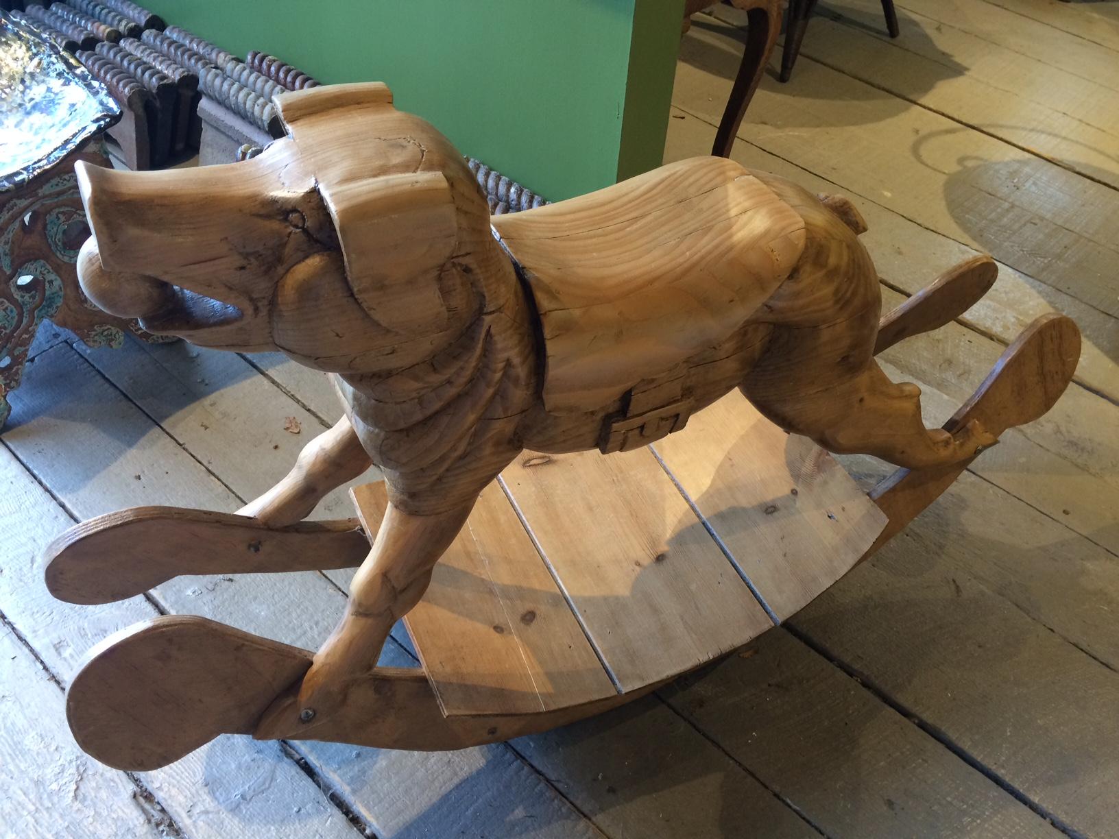 Rocking Pig, hand carved