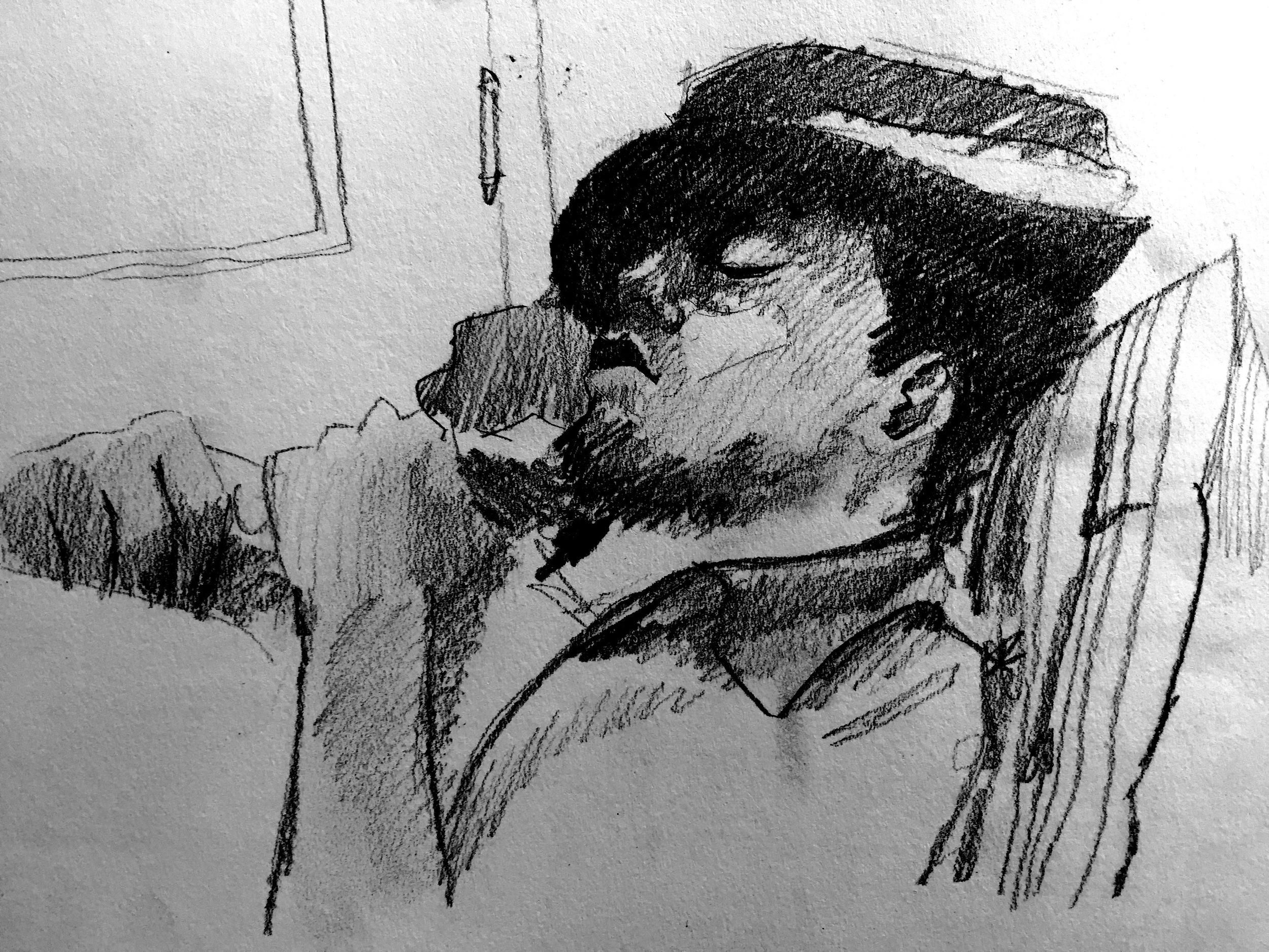 Jesse sleeping in the gallery.